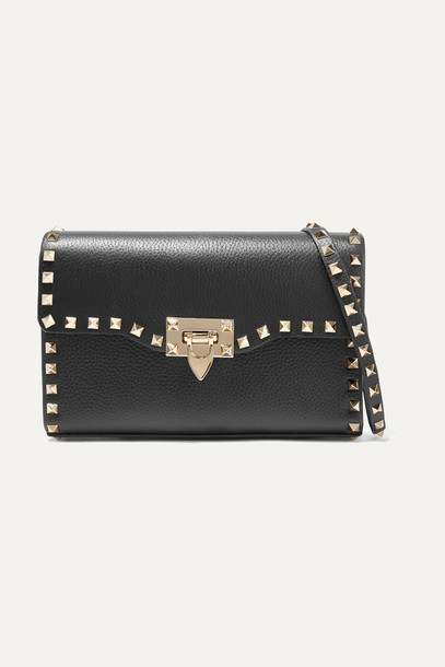 VALENTINO - Valentino Garavani The Rockstud Small Textured-leather Shoulder Bag - Black