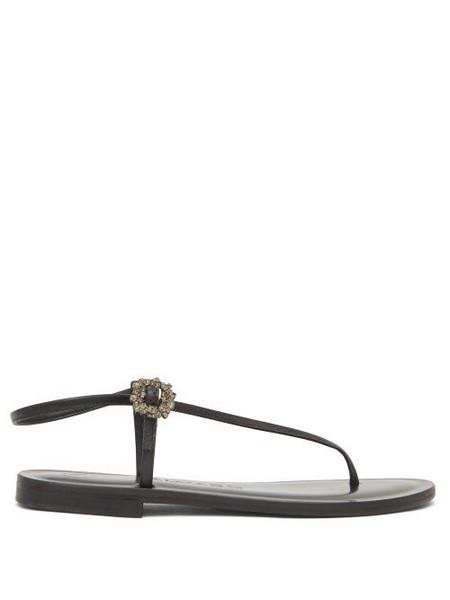 Álvaro Álvaro - Andreina Crystal-buckle Asymmetric Leather Sandals - Womens - Black