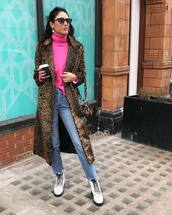 sweater,turtleneck sweater,pink sweater,neon,white boots,lace up boots,ankle boots,cropped jeans,straight jeans,high waisted jeans,leopard print,long coat,shoulder bag