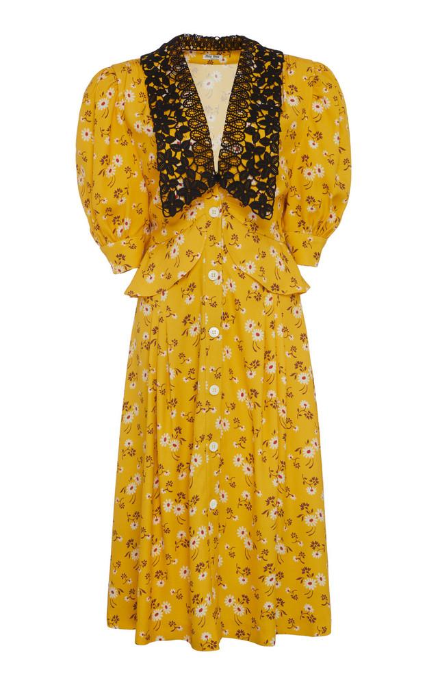 Miu Miu Printed Peplum Midi Dress Size: 36 in yellow