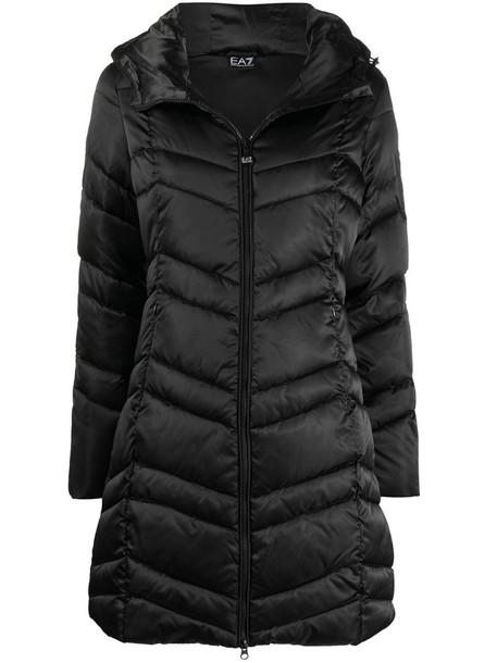 Ea7 Emporio Armani chevron-quilted hooded coat in black