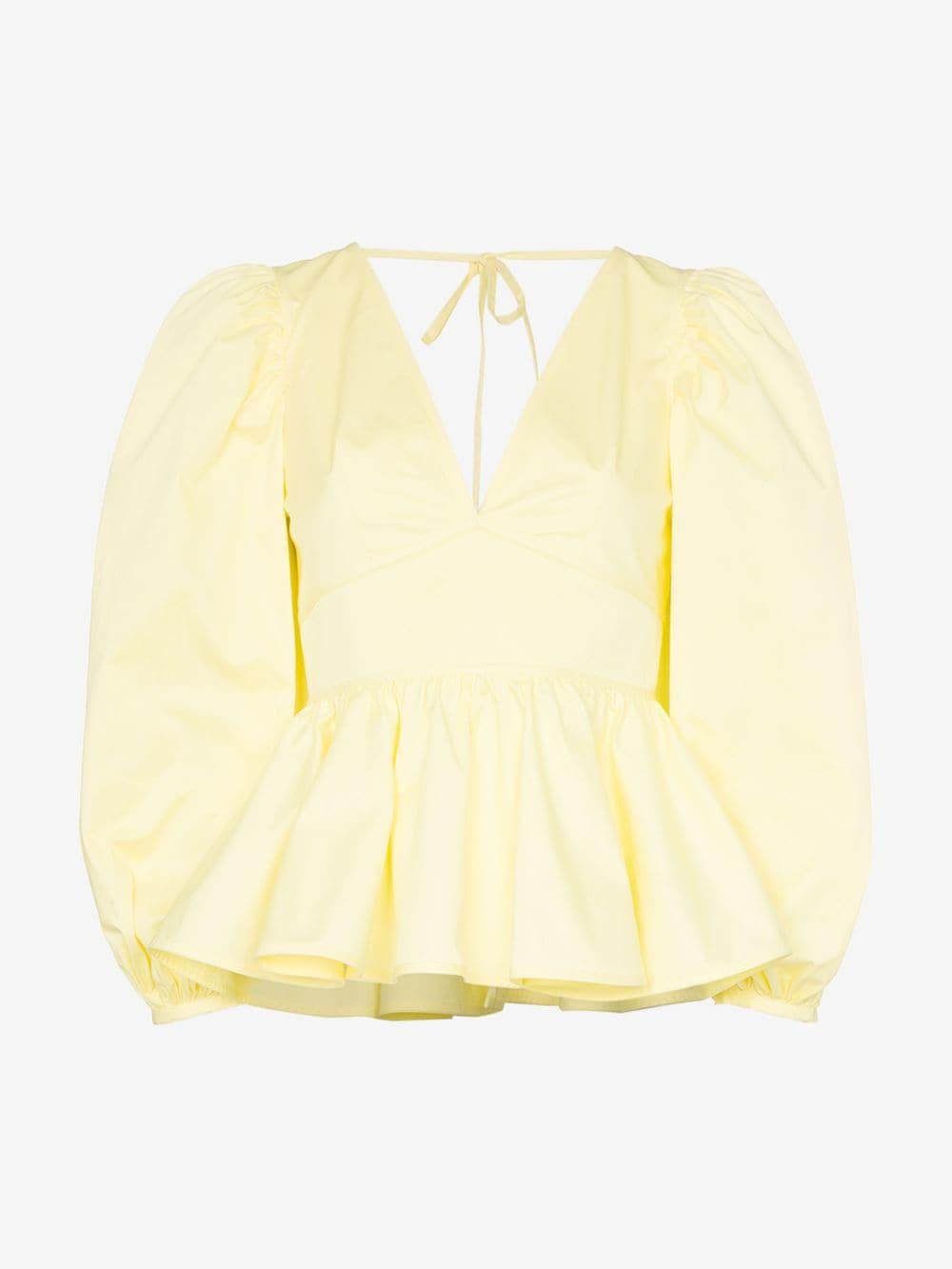 Staud V-neck peplum hem stretch-cotton blouse in yellow