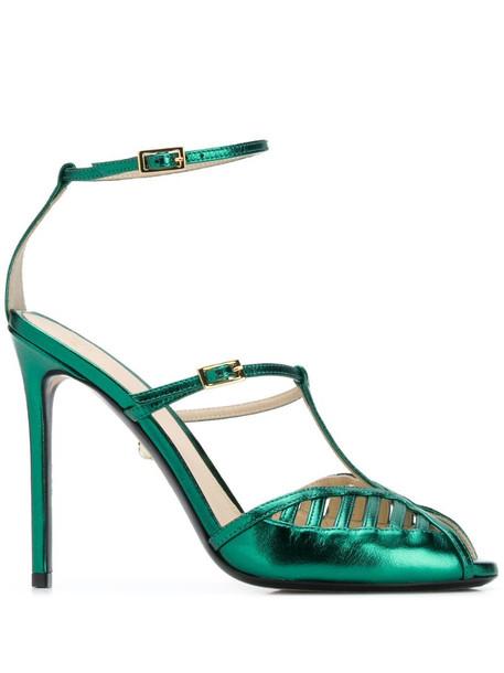 Alevì metallic open-toe sandals in green
