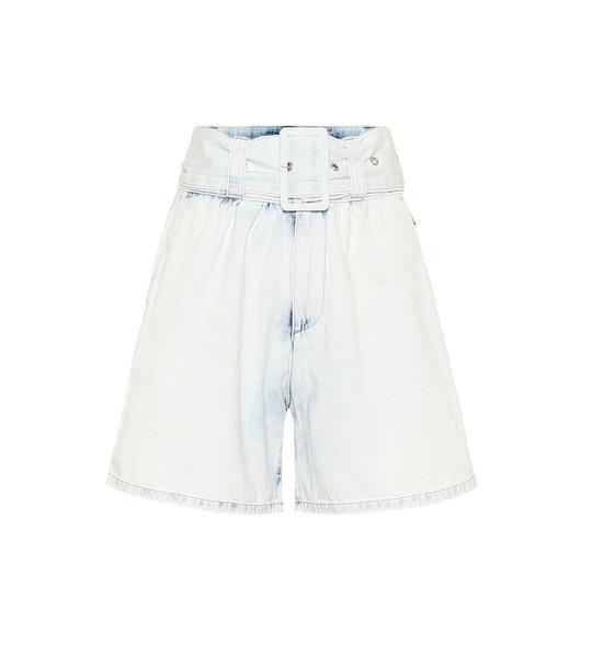 MSGM High-rise cotton-denim shorts in blue
