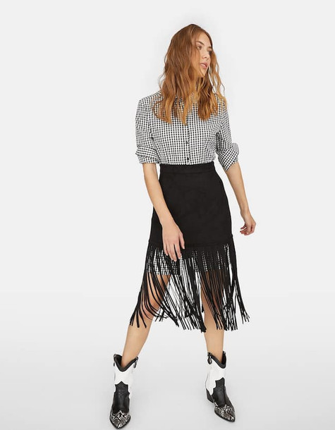 Stradivarius Skirt With Faux Suede Fringes In Black