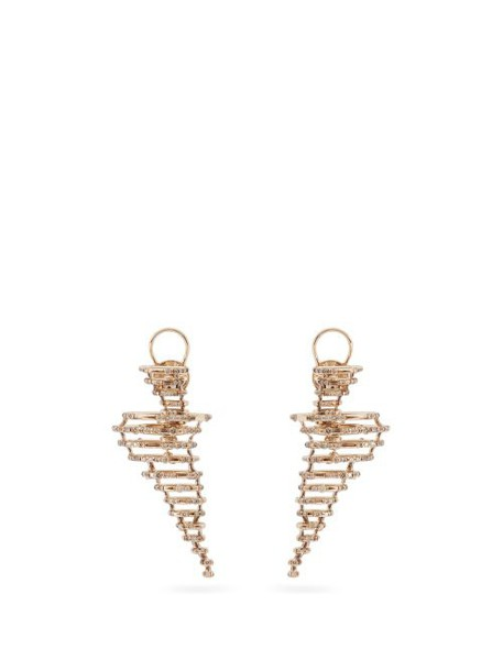 Bibi Van Der Velden - Big Tornado 18kt Gold & Diamond Earrings - Womens - Gold