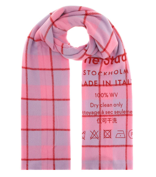 Acne Studios Checked wool scarf in pink