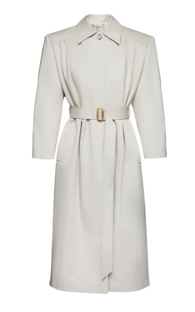 Magda Butrym Belted Cotton Trench Coat in neutral