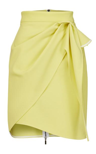 Maticevski Splendid Draped Crepe Mini Skirt in yellow