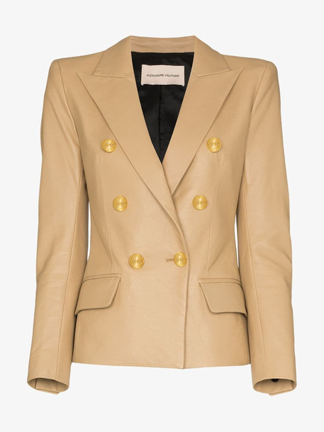 Alexandre Vauthier Double-breasted leather blazer in neutrals