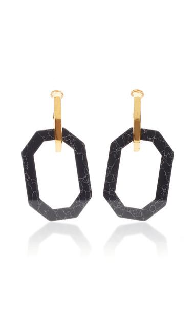 Oscar de la Renta Short Octagon P Earring in black