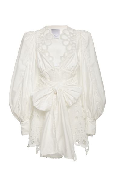 Acler Vicount Eyelet Cotton Mini Dress Size: 2 in white