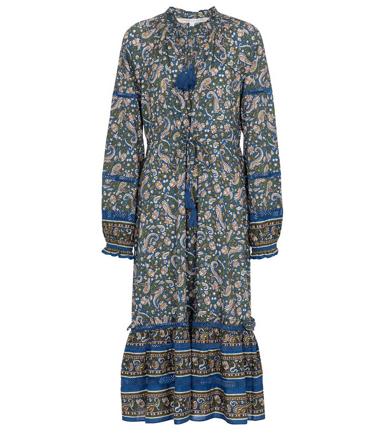 Veronica Beard Sahana paisley cotton midi dress in blue