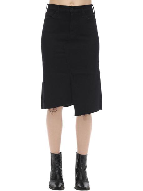 MOTHER Cotton Denim Midi Skirt in black