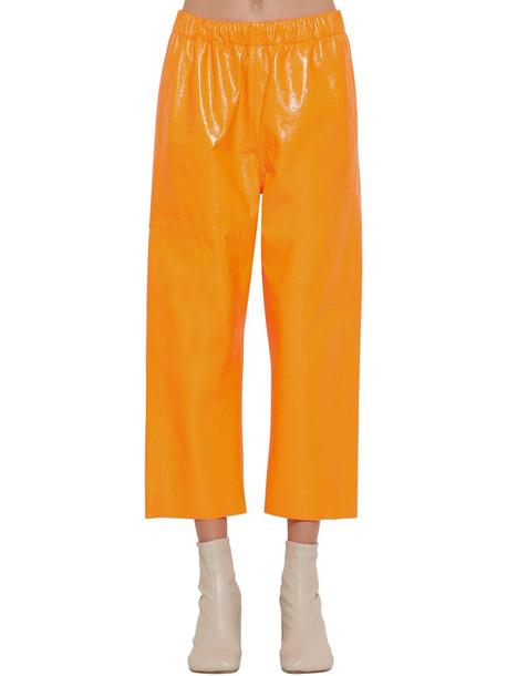 MM6 MAISON MARGIELA Crackled Shiny Leather Pants in orange