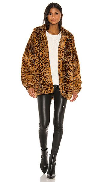 SPRWMN Oversized Faux Fur Jacket in Brown