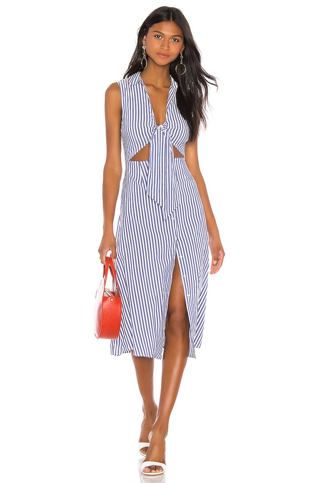 L'Academie The Yves Midi Dress in blue