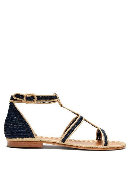 Carrie Forbes - Tama Woven Raffia Sandals - Womens - Cream Navy