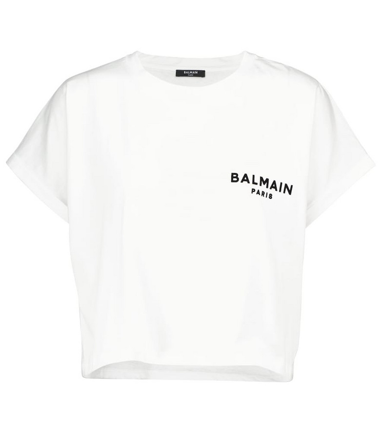 Balmain Logo cotton T-shirt in white