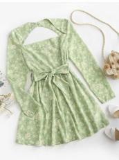 dress,green,flowers,open back,long sleeves,green dress