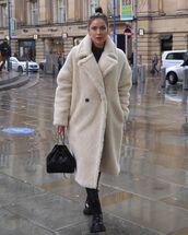 coat,teddy bear coat,black boots,black bag,chanel bag
