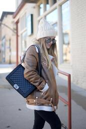 blonde bedhead,blogger,sweater,jeans,coat,shoes,hat,bag,beanie,chanel bag,shearling jacket,winter outfits