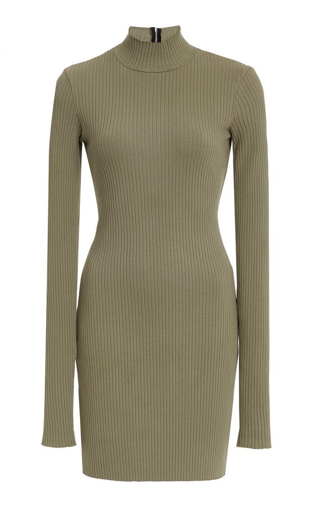 Cotton Citizen Ibiza Mock-Neck Ribbed Stretch-Cotton Mini Dress in green