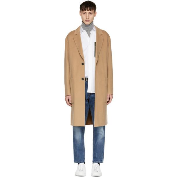 AMI Alexandre Mattiussi Tan Oversized Two-Button Coat