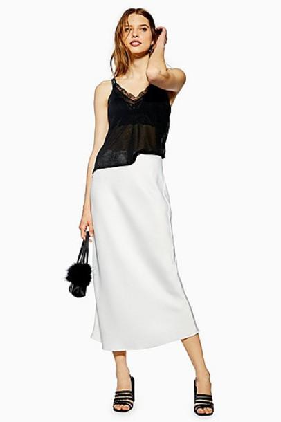 TopShop Satin Bias Midi Skirt - Ivory