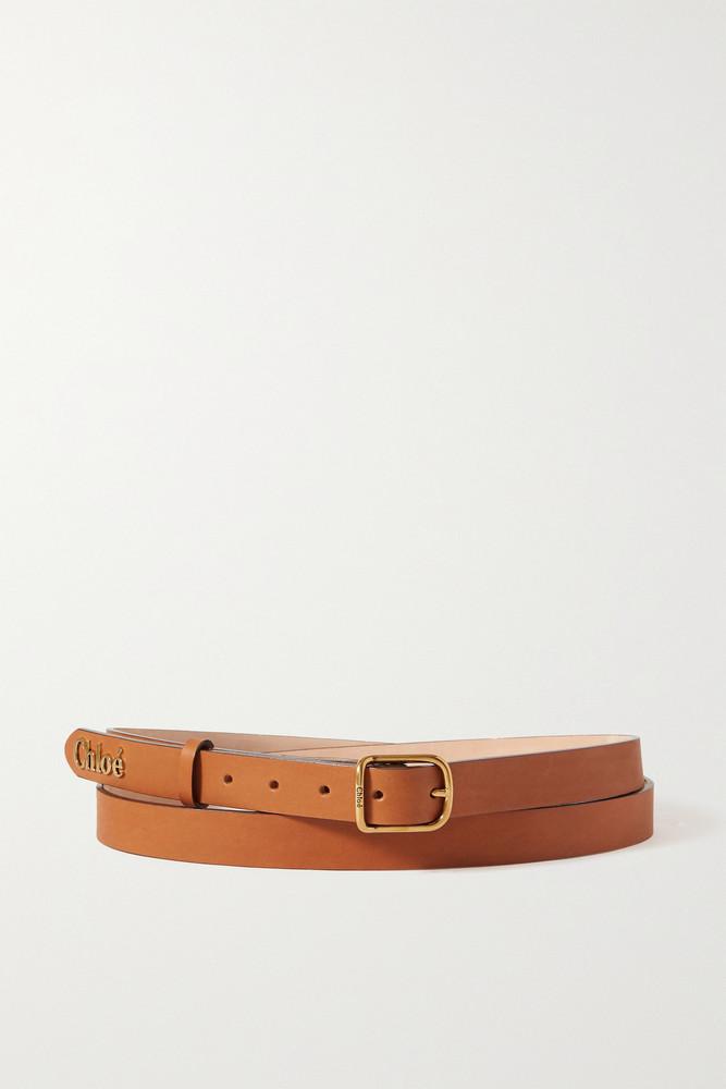 CHLOÉ CHLOÉ - Embellished Leather Waist Belt - Brown