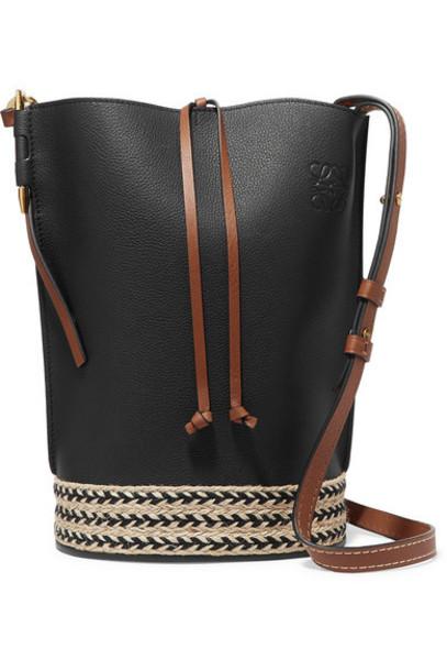 Loewe - Gate Jute-trimmed Textured-leather Bucket Bag - Black