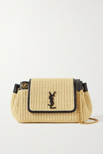 SAINT LAURENT - Nolita Small Leather-trimmed Raffia Shoulder Bag - Cream