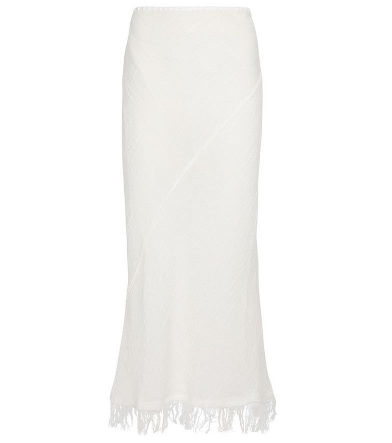 Acne Studios Fringed linen midi skirt in white