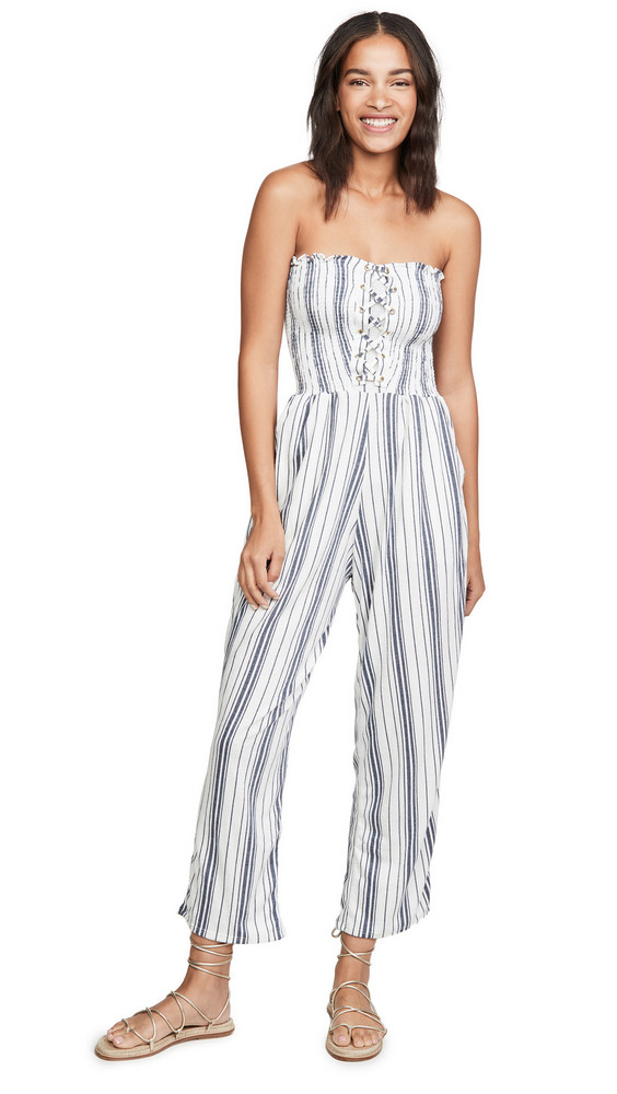 Peixoto Strapless Jumpsuit in blue / white