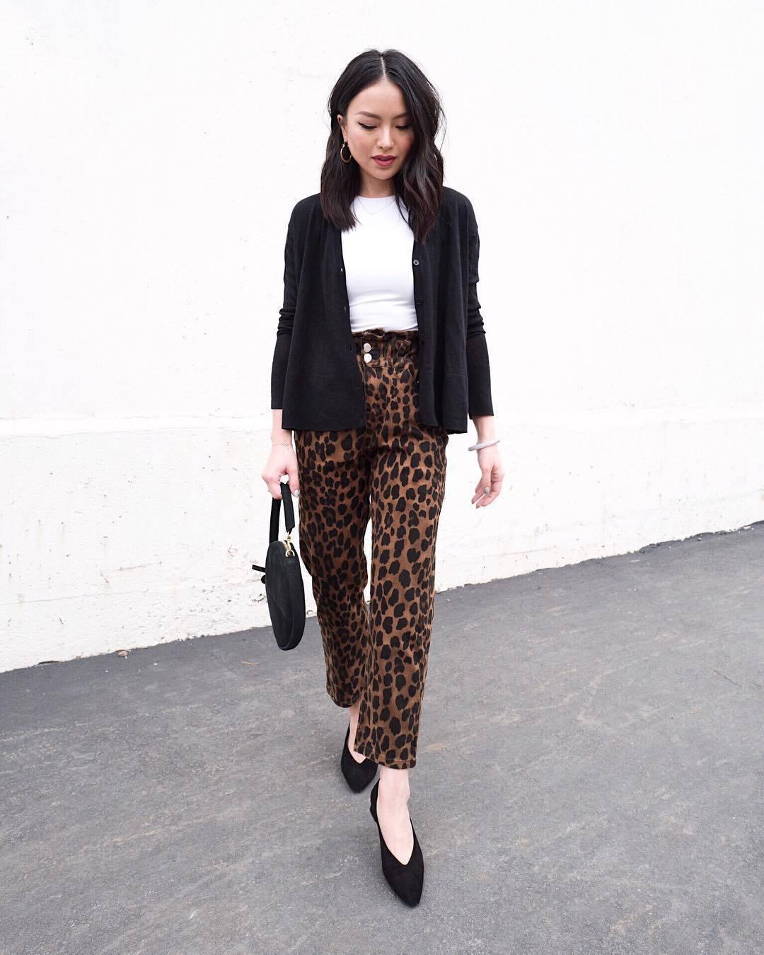 shoes pumps leopard print pants black bag white t-shirt black cardigan casual mid heel pumps