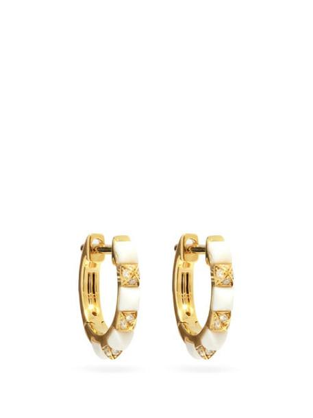 Raphaele Canot - Diamond, Agate & 18kt Gold Hoop Earrings - Womens - White Gold