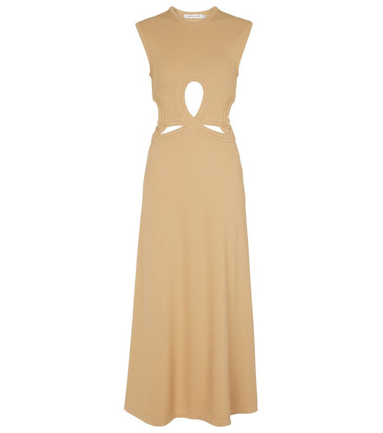 CHRISTOPHER ESBER Cutout ribbed-knit midi dress in beige