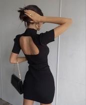 dress,black dress,open back dresses,short dress