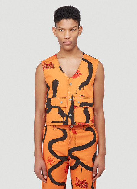 Come Tees Illustrative Snap Vest in Orange size S