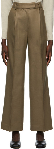 Blossom Taupe Wool Super Trousers in beige