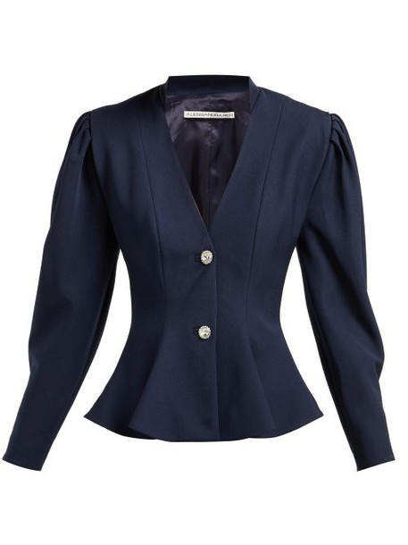 Alessandra Rich - Peplum Crystal Button Wool Blazer - Womens - Navy