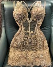 dress,embellished,sheer,mesh,cocktail,cocktail dress,beaded,nude,formal,classy