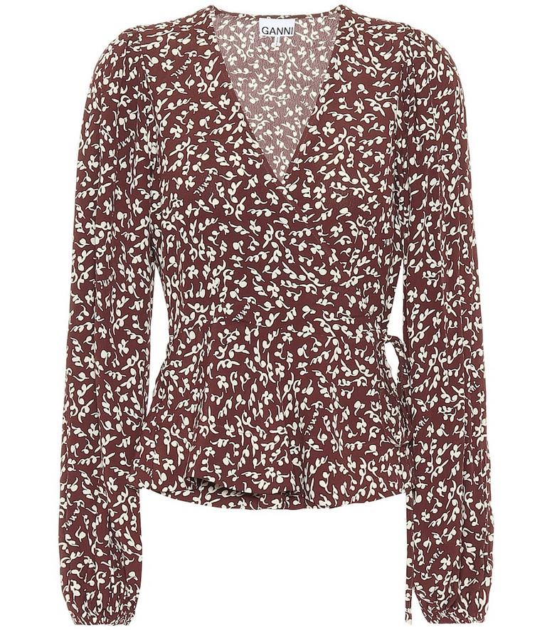 Ganni Floral crêpe blouse in brown