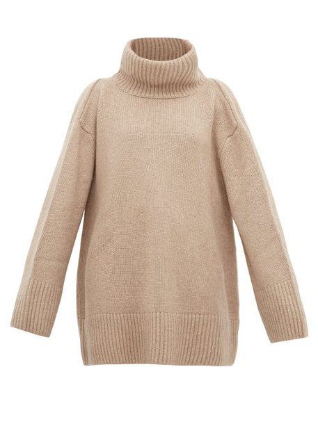 Khaite - Tenille Slit Shoulder Cashmere Sweater - Womens - Beige