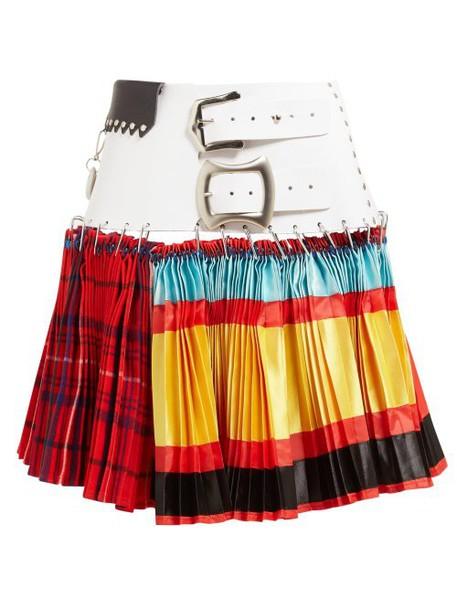 Chopova Lowena - Leather Belted Mixed Print Pleated Skirt - Womens - Multi