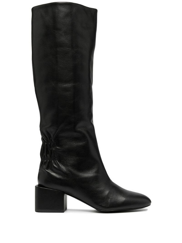 Diesel knee-high leather boots in black