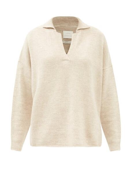Lauren Manoogian - Collared Merino Wool-blend Sweater - Womens - Light Beige