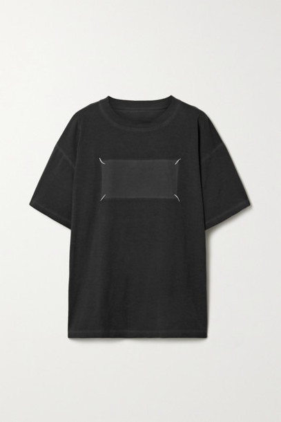 Maison Margiela - Oversized Embroidered Cotton-jersey T-shirt - Black
