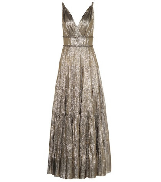 Oscar de la Renta Silk-blend lamé gown in gold