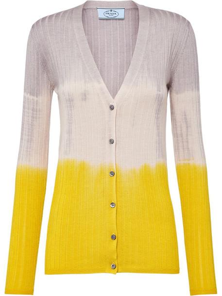Prada colour-block ribbed cardigan in yellow